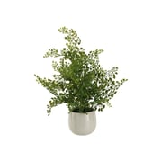 D & W Silks Wire Fern in White Ceramic Planter