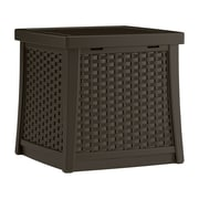 Suncast Cube 13 Gallon Resin Deck Side Table w/ Storage; Dark Brown