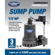 SuperiorPump 1/2 HP Sump Pump with Vertical Float Switch