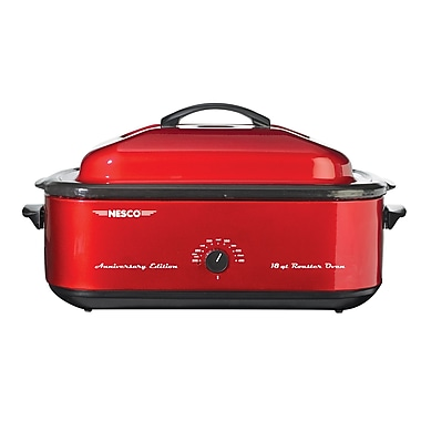 Nesco® 18 Quart Porcelain Cookwell Roaster Oven, Red