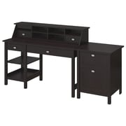 Bush Furniture Broadview Collection Open Storage Desk, Organizer and 2 Drawer Pedestal