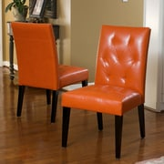 Christopher Knight Home Reseda Tufted Dining Chair (Set of 2); Bonded Leather-Orange