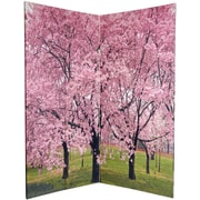 Oriental Furniture 72'' x 48'' Double Sided Cherry Blossoms 4 Panel Room Divider