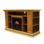 Stonegate Boston Media TV Stand with Electric Fireplace; Light Oak