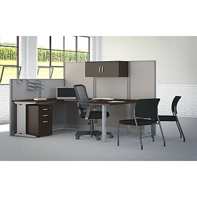 Bush Business Furniture Office in an Hour 89W x 65D U Workstation with Storage and Chair Mocha Cherry WC36896 03SC