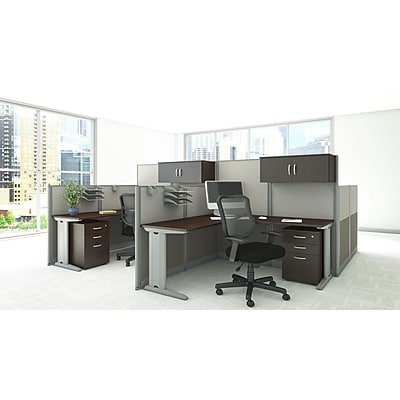 Bush Business Furniture Office in an Hour 65W x 65D L Workstation with Storage and Chair Mocha Cherry WC36894 03SC