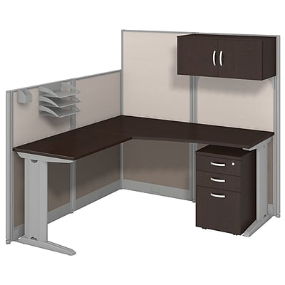 Bush Business Furniture Office in an Hour 65W x 65D L Workstation with Storage and Accessory Kit Mocha Cherry WC36894 03STGK
