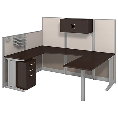 Bush Business Furniture Office in an Hour 89W x 65D U Workstation with Storage and Accessory Kit Mocha Cherry WC36896 03STGK