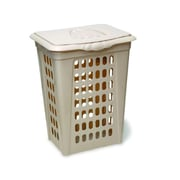 YBM Home Plastic Perforated Rectangular Lift Top Laundry Hamper with Lid; Almond