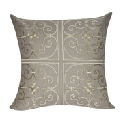 Loom and Mill Floral Embroidered Decorative Throw Pillow; Dark Tan