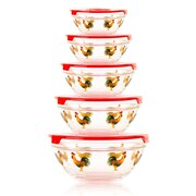 Imperial Home 10 Piece Stackable Rooster Design Glass Storage Bowl Set