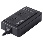 Plugable 5' 2-Outlet Desktop Power Strip with 4 Port USB Charger, Matte Black (PS2-USB4)