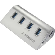 Premiertek 4-Port SuperSpeed USB 3.0 Hub with AC Adapter, Silver (XM-UB3004A)