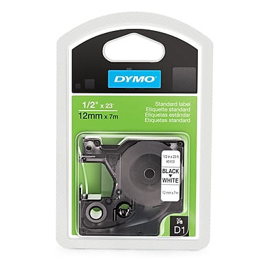 DYMO® 45113 D1 Label Tape Cartridge, 1/2-Inch x 23 Feet, Black/White