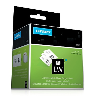DYMO® 30857 Adhesive Name Stickers, Paper, 2-1/4 inches x 4 inches, Black/White, 250 Per Roll