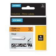 DYMO® 18435 RhinoPRO Adhesive Vinyl Label Tape, 1/2-Inch, 18-Foot Cassette, Orange