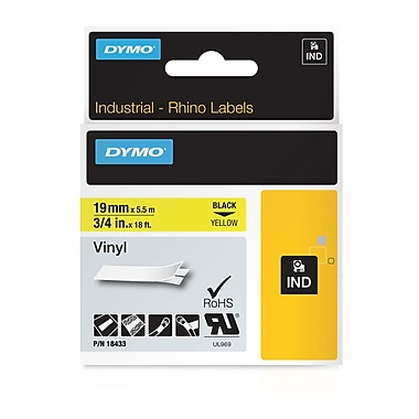 DYMO® 18433 RhinoPRO Adhesive Vinyl Label Tape, 3/4-Inch, 18-Foot Cassette, Yellow