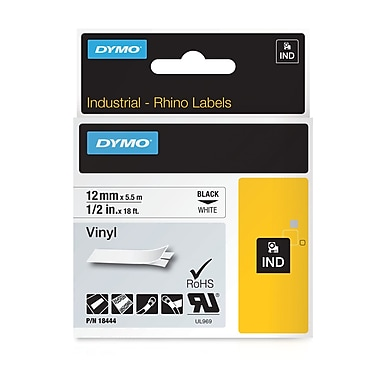 DYMO® 18444 Label Tape Industrial Cartridge, Vinyl, 1/2 inches x 18 Feet, Black/White
