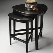 Butler Finnegan 2 Piece Nesting Tables; Distressed Black Licorice