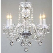 Harrison Lane 4 Light Crystal Chandelier; Plug-in Kit Included