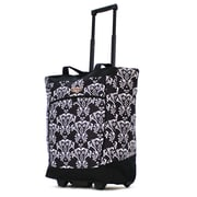 Olympia Fashion Damask Rolling Shopping Tote; Damask Black