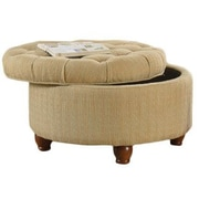 HomePop Round Button Upholstered Storage Ottoman