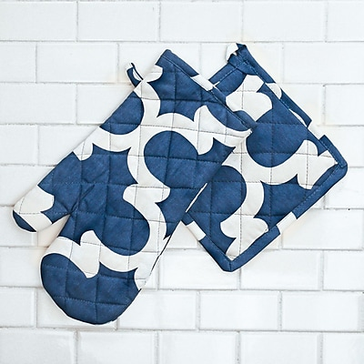 Linen Tablecloth Trellis Oven Mitt and Potholder Set (Set of 2); Navy Blue/White WYF078277965247