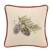 Laurel and Mayfair Winter Bird Embroidered Cotton Throw Pillow