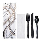 Hoffmaster Cutlery Pouch Mystic Print, Napkin, Knife, Fork, Spoon (pack of 100)