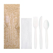 Hoffmaster Cutlery Pouch Vines Print, Napkin, Knife, Fork, Spoon (pack of 100)