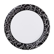 "Hoffmaster Silver Swirl 7"" Round Paper Plates, 200 per Case (750505)"