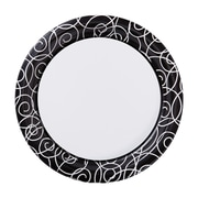 "Hoffmaster Silver Swirl 9"" Round Paper Plates, 200 per Case (750506)"