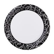 "Hoffmaster Silver Swirl 9"" Round Paper Plates, 200 per Case (750506)"