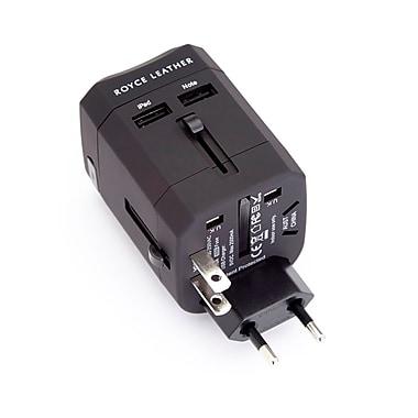 Royce Leather International Travel Adapter Plug, Black