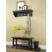 Alaterre Shaker Cottage 2-Piece Hall Tree Coat Hook and Bench Set; Charcoal