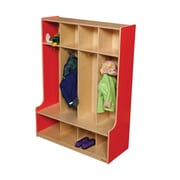 Wood Designs 1 Tier 4-Section Seat Locker; Strawberry Red