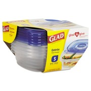 Glad® Gladware Entree Food Storage Containers, 25 Oz., 5/pack, 6 Pks/ctn
