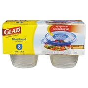 Glad® Gladware Mini Round Food Storage Containers, 4 Oz, 8/pk, 12 Pk/ctn