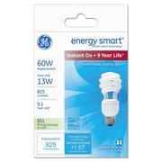 GE Compact Fluorescent Bulb, 13 Watts, Spiral, Soft White, 2/pack