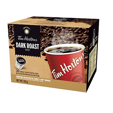 Tim Hortons Single Serve Coffee, Dark Roast, 30/Pack