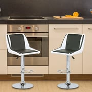 AdecoTrading Adjustable Height Swivel Bar Stool with Cushion (Set of 2); Black/White