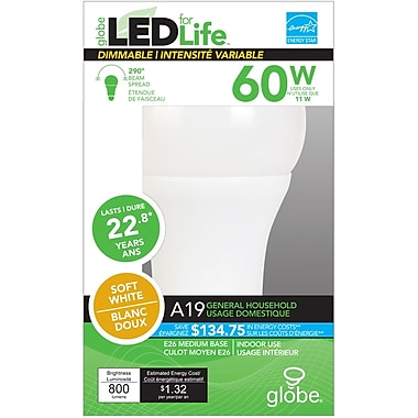 Globe A19 LED Light Bulb, 60W, Soft White