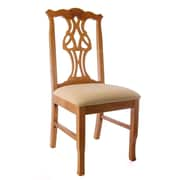 Benkel Seating Chippendale Side Chair; Honey Oak / Cream Microfiber