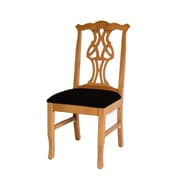 Benkel Seating Chippendale Side Chair; Natural / Black Chenille