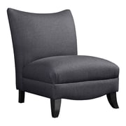 Madison Park Asher Curved Back Slipper Chair; Black Noir Base/Charcoal Upholster