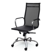 Winport Industries High-Back Mesh and Leather Executive Office Chair; Black
