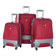 Olympia Majestic 3 Piece Expandable Luggage Set; Red