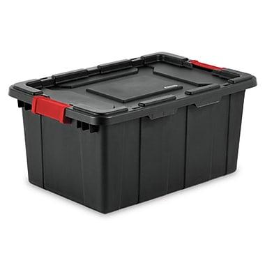 Sterilite – Bac industriel 15 gal/57 L, 25 3/4 x 17 1/4 x 11 7/8 po, noir avec poignées rouges