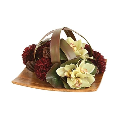 Distinctive Designs Silk Floral Mix Caged by Blades on Tray