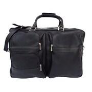 Piel Traveler 19.5'' Leather Travel Duffel; Dark Green w/ Sand trim - CLOSEOUT!